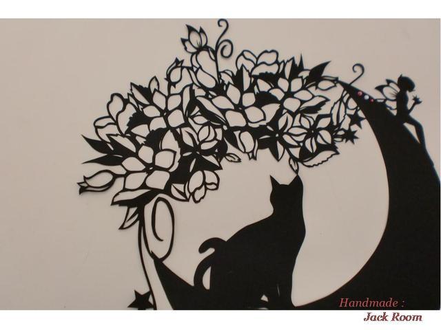 メルヘン切り絵M26 月猫