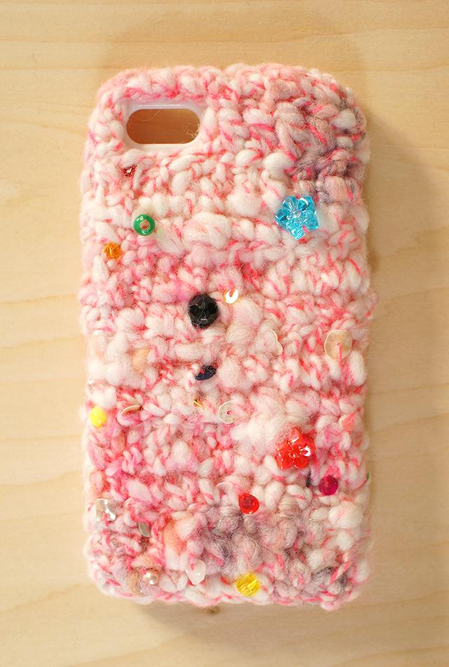 iPhone5cケース -お姫様のリボン(ピンク)- ニット iPhone カバ