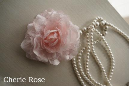 レースとお花のコサージュ*ピンク