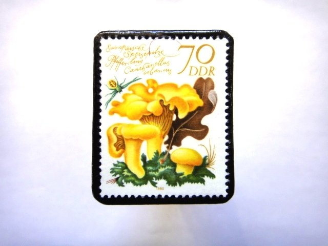 旧東ドイツ「きのこ」切手ブローチ763