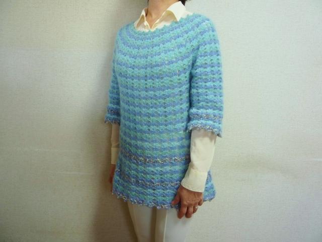 【春物・新作】春色モヘア・かぎ針編みのセーター