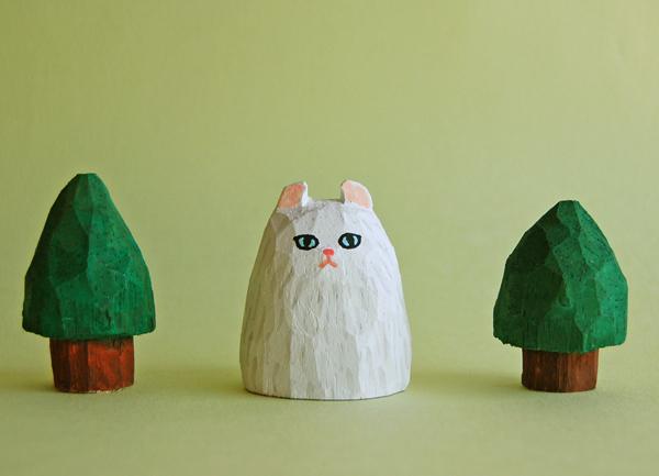 木彫り人形ねこ アメリカンカール 白 [MWF-095]