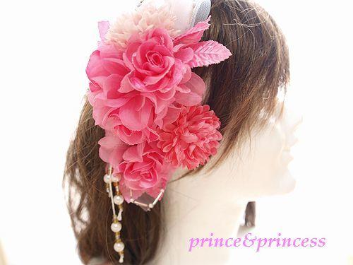袴に*着物ヘアーに*ピンクマムとローズの髪飾り