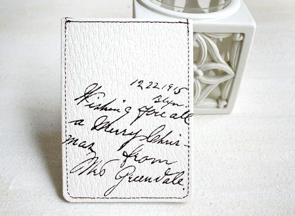 革製パスケース 1915Message(オフホワイト)