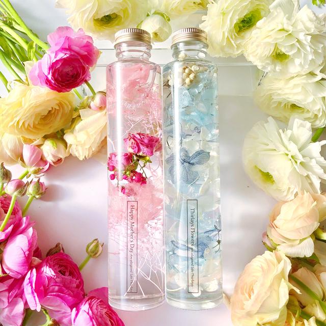 2本セット angel pink blue flowers ハーバリウム 上品ロングタイプ
