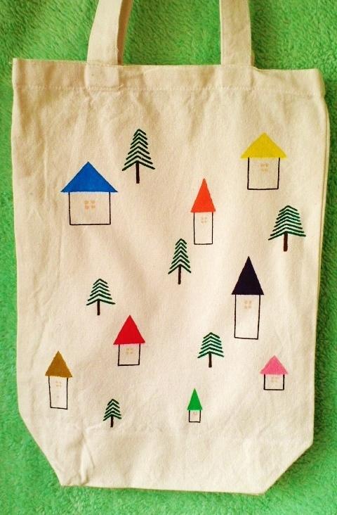 カラフルお家と木のバッグ【再販】