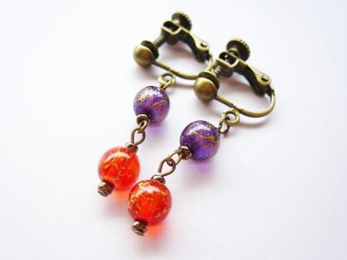 オリエンタルなふたりイヤリング(紫×赤)