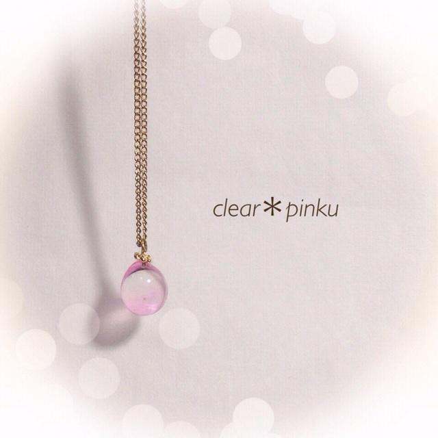 【再販】R-96 一粒のしずく☆ガラス玉のネックレス ピンク