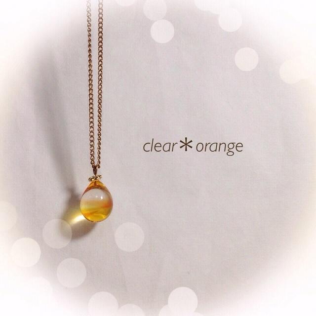 【再販】R-38 一粒のしずく☆ガラス玉のネックレス オレンジ