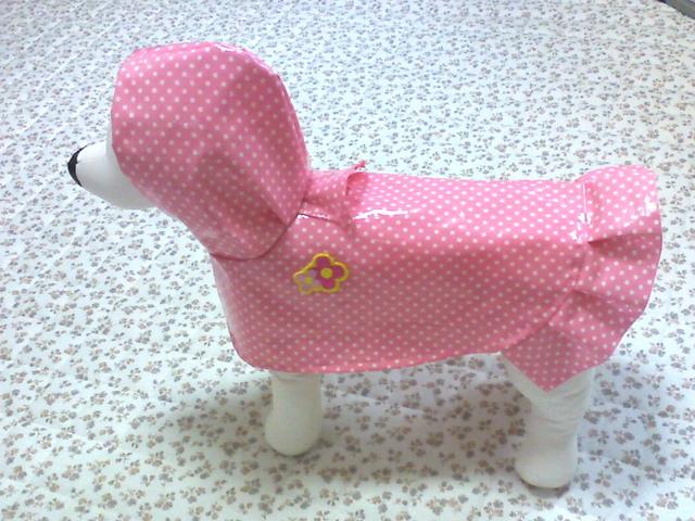 小型犬(S)のレインウエアー・ピンクドット・花R