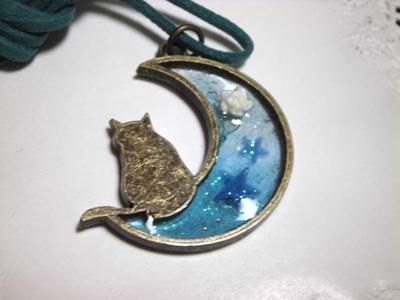 月猫ペンダント【青】