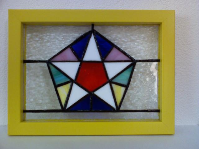 ステンドグラスの壁掛け・マンダラE
