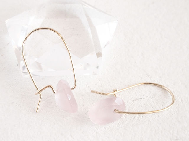 14KGF Brilliant Rosequartz Earrings