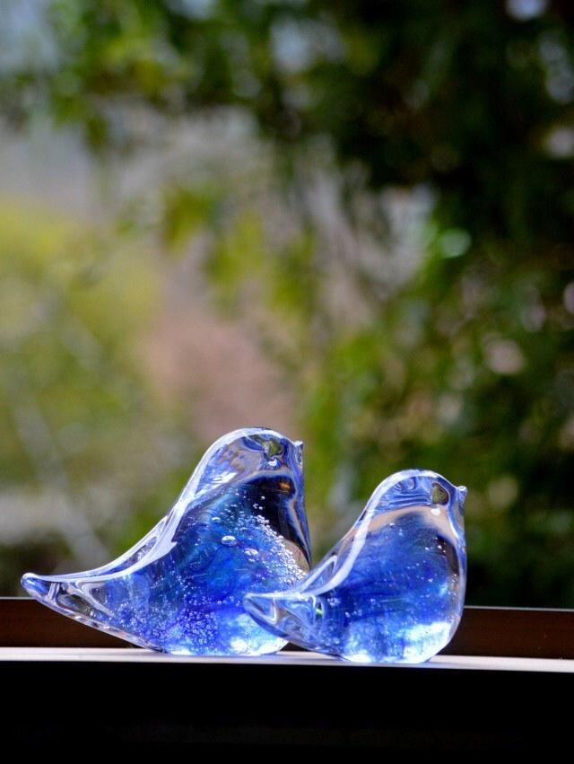 ブルーパープルの小鳥ペアa