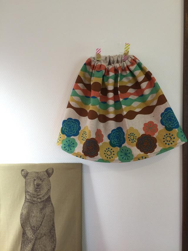 サイズ100*コットンリネンのスカート*お花*