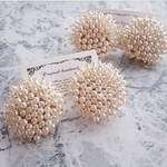 Pearl beads round earring