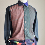 Men's シックな大人のpatchwork casual shirt (no.141)