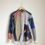メンズ Satnd collar キモノpatchwork shirt (no.143)