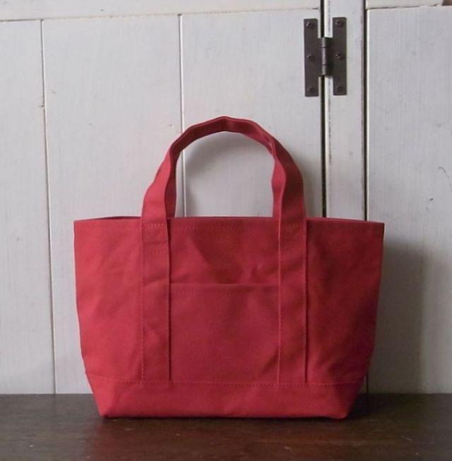 パラフィン帆布のトートバッグ 赤