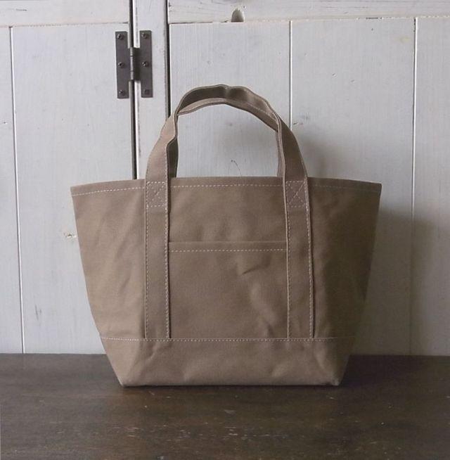 パラフィン帆布のトートバッグ マチ大きめ 薄茶