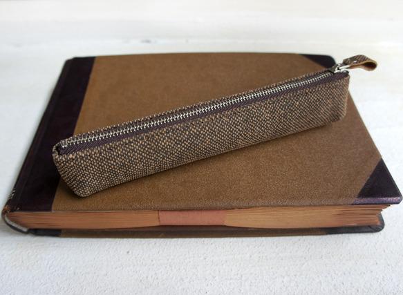 葉巻風な革製ペンケース(ツイード/ブラウン)