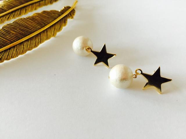 星とコットンパールのピアス