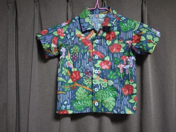 パナマの手芸モラの模様で作った アロハシャツ 90センチ用