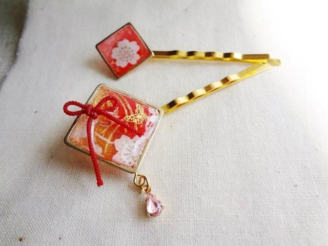 桜と蝶のヘアピン二点セット