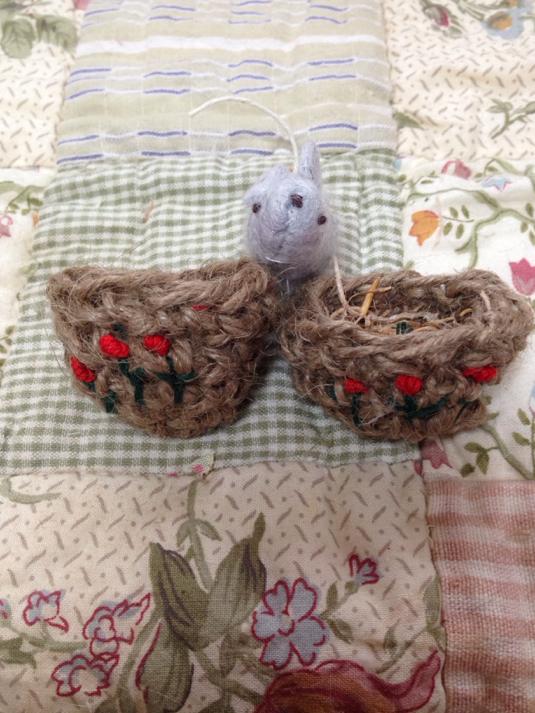 miniminiお花の手編みバスケット