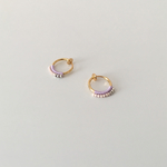 Beaded Crochet Hoop Earrings/LAVENDER x PINK BEIGE