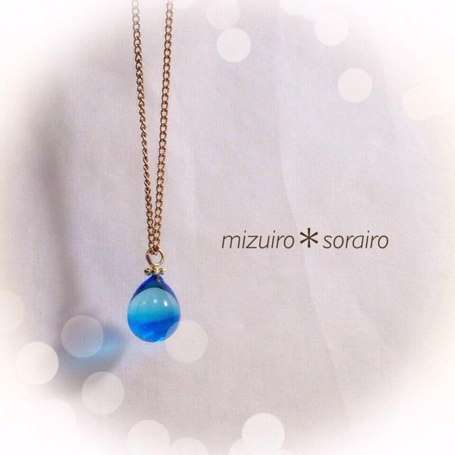 【再販】R-42 一粒のしずく☆ガラス玉のネックレス ブルー
