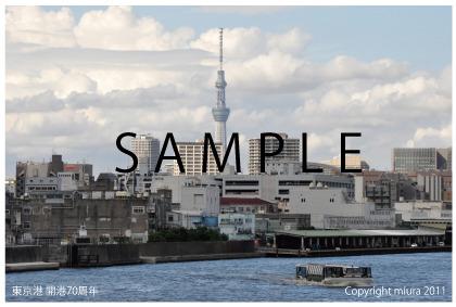 はがきサイズの写真:東京港 開港70周年  海から見るスカイツリー POSTCARD