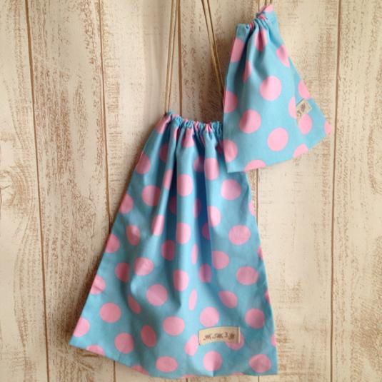 水色 ピンクドット体操袋&巾着