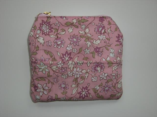 化粧ポーチ ピンク(ポケット付き)