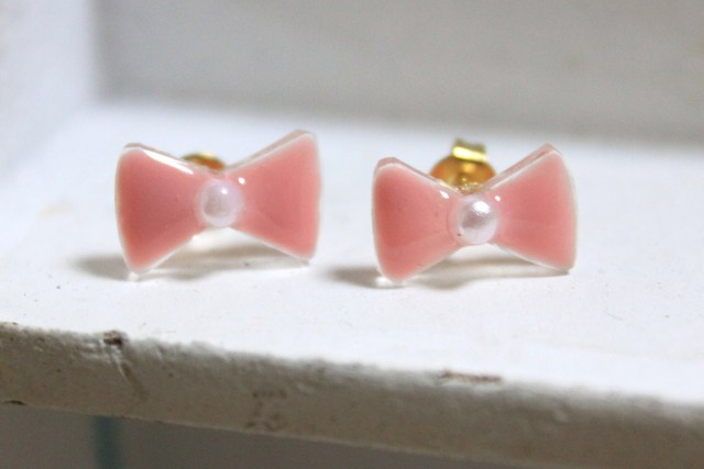 【sold out】りぼんピアス ピンク(小)