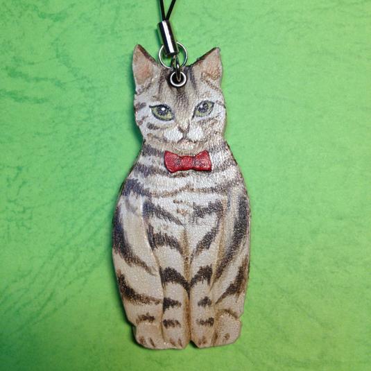 猫のストラップ 革製