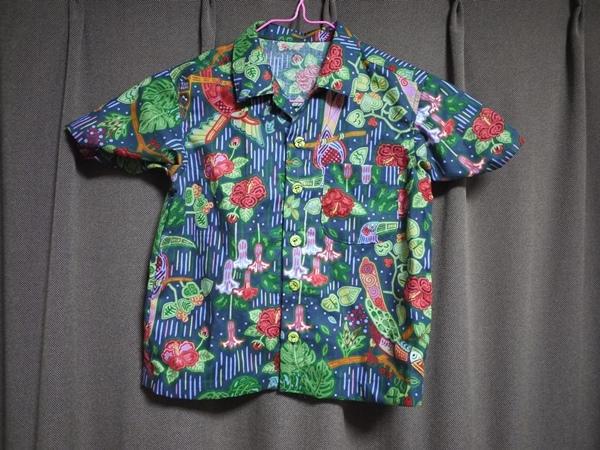 パナマの手芸モラの模様で作った アロハシャツ 120センチ用