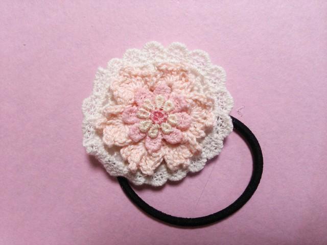 【ハピ☆デコ】手編み花のヘアゴム/フラワー