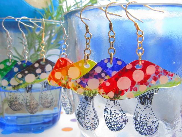 7color カラフルキノコピアス&イヤリング