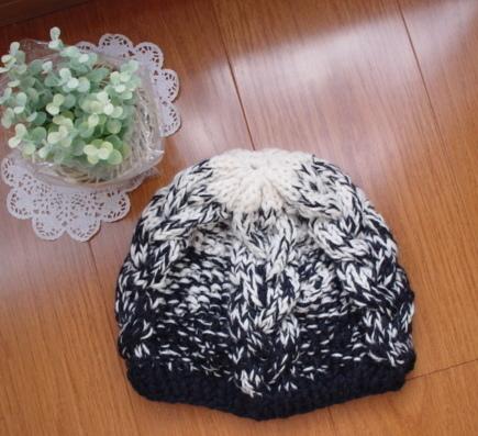 ☆彡  アラン模様のknit帽モノトーングラデーション