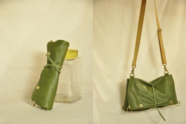 ショルダー&クラッチバッグ 緑 <Rope Lock Clutch 2>