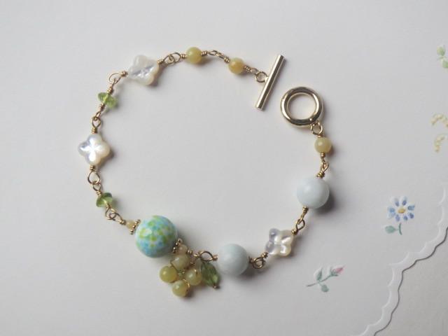 青空と菜の花のブレスレット