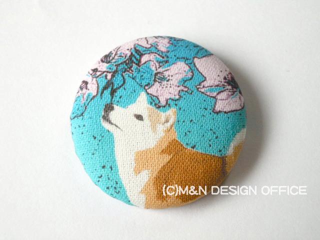 M&Nオリジナルイラスト布バッジ/柴犬と桜
