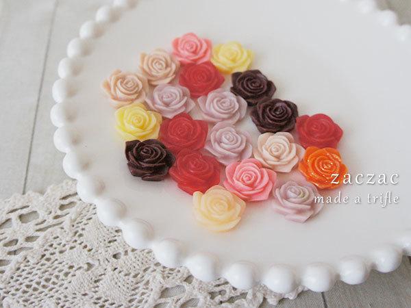 【販売終了】お花カボション20個*赤系*薔薇
