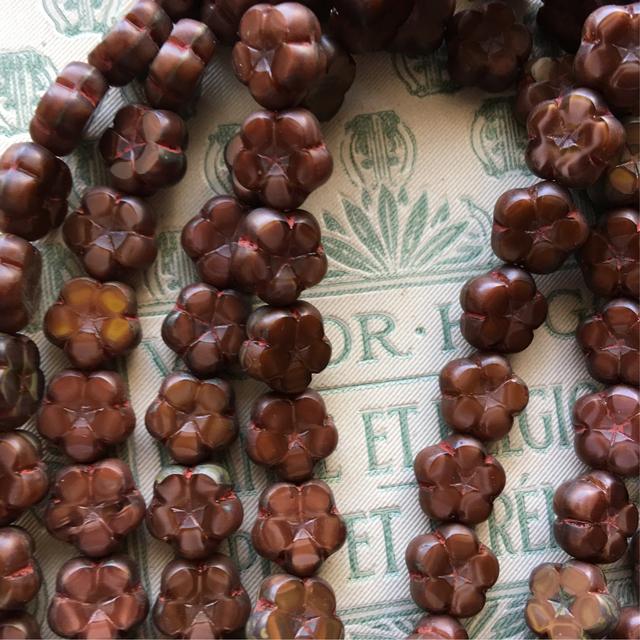 6コセット czech beads チェコビーズ daisy flower 10 チョコレート
