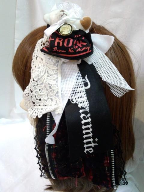 くまちゃん付きびりびり髪飾り&ブローチ
