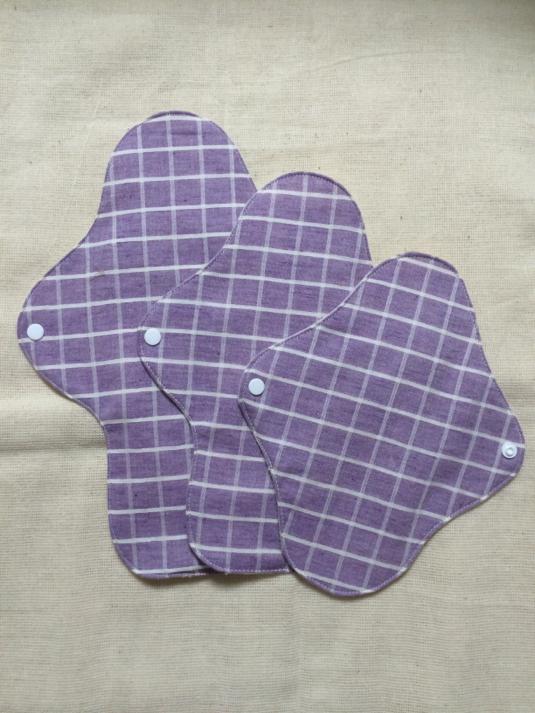 両面オーガニックコットン・布ナプキンセット(紫)