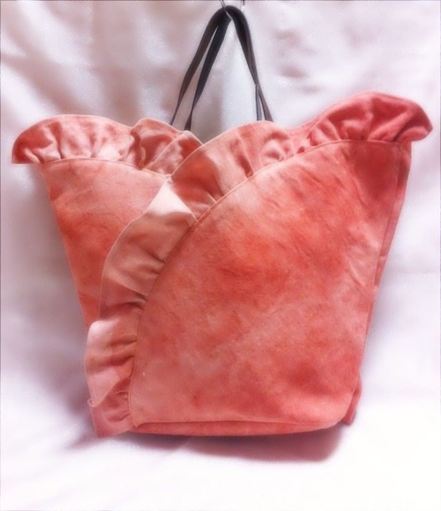ベンガラ染めフリルトートバッグ