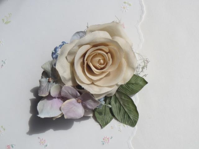 薔薇とあじさいのコサージュ(2way)
