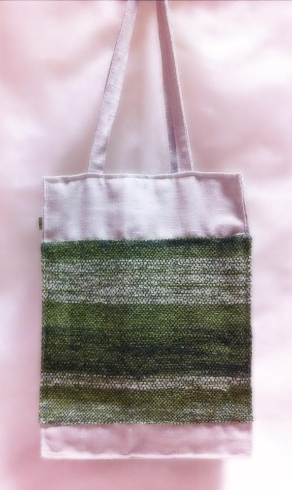 さをり織り?麻シンプルバッグ